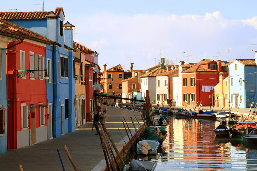 Architecture Building Exterior Burano Venice Burano, Italy City Day Gondola - Traditional Boat Harbor Multi Colored No People Outdoors Sky The City Light Water