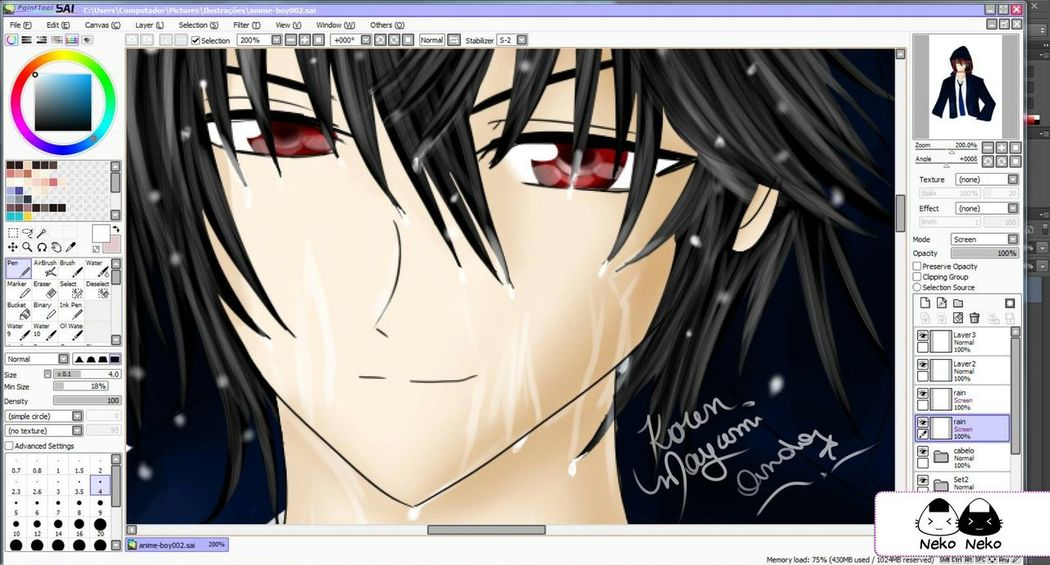 Drawing and Painting in Paint tool sai. (*´ω`*) Painting Paint Tool Sai Anime Boy Original Character Red Eyes Anime Yandere