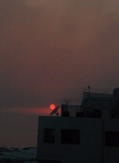 Setting Sun Is Captured By  A Satellite Dish ..... Mission Accomplished