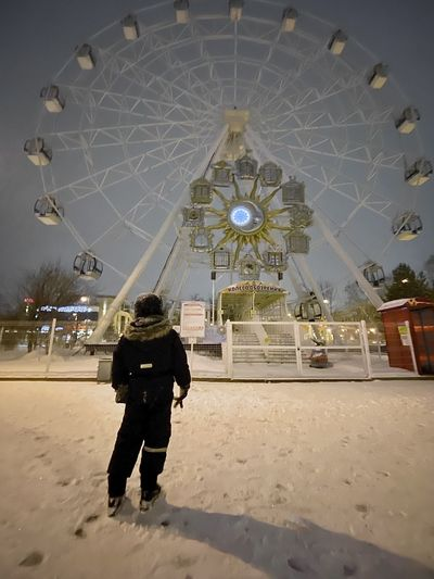 Rear view of man standing in amusement park during winter