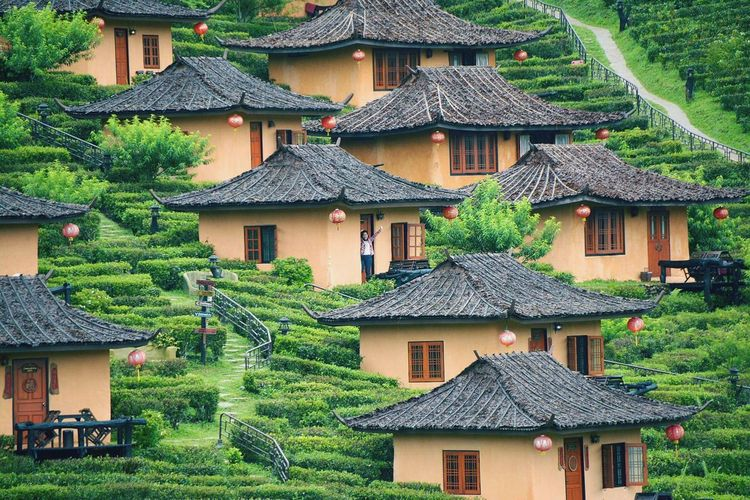 View of houses on mountain