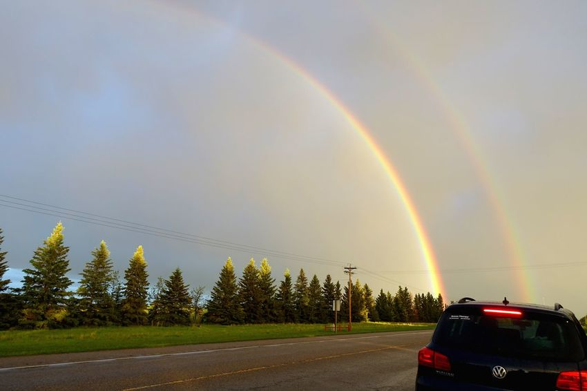 Didsbury Alberta Canada Exploring Abventure New Lifestyle  Travel Cloud After Rain Rainbow Sky Nature