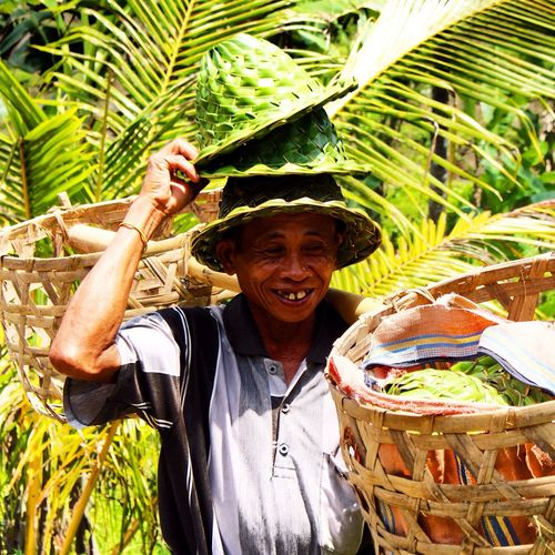 Smile Funny Balinese Man Typical Hats