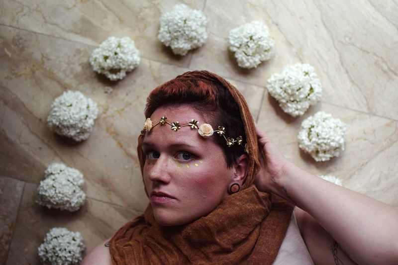 Gold inspired. Christianity Freshness Flower One Person Portrait Headshot Beauty Adult Clothing Women Young Adult Relaxation Beautiful People Flower Looking Contemplation