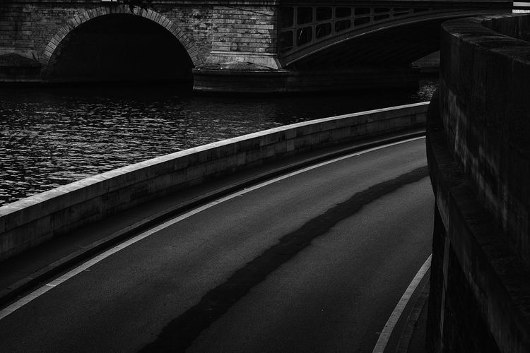 City Curve Lines Paris Riverside Arch Architecture Brick Bridge Bridge - Man Made Structure Built Structure Bw Connection Day Nature No People Outdoors Pavement River Roman Bridge Sena Senna Street Streetphotography Transportation Water