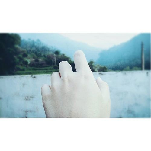 Hand Blue Mountains Forest Quite Comfortable Serenity Sky