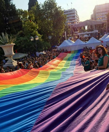 Your life YOUR choice Greece Togetherness Smiling Happiness Our Choices Ourlife ProudOfMyself Colours Sky AthensPride2017 Large Group Of People Multi Colored City