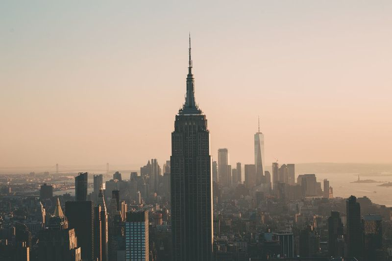Skyline Empire State Building New York City Built Structure Architecture Building Exterior City Building Office Building Exterior Cityscape Sky Skyscraper Travel Destinations Tall - High Tower Modern Urban Skyline Nature Travel Office Landscape Sunset No People