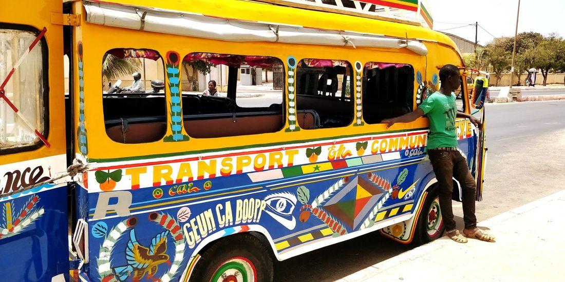 Transport En Commun Senegal Love Africa Multi Colored Dakar Afrique Carboubou EyeEm Selects Close-up Bus Public Transportation Bus Stop