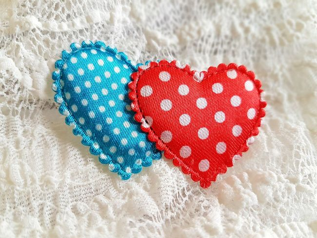 Textile Heart Shape Pattern Heart Hearts Two Hearts Red Heart Blue Heart Lace - Textile Dots The Week On EyeEm EyeEmNewHere Mix Yourself A Good Time Being In Love I Love You Valentine's Day  Love Variation Background Heart Background Choice