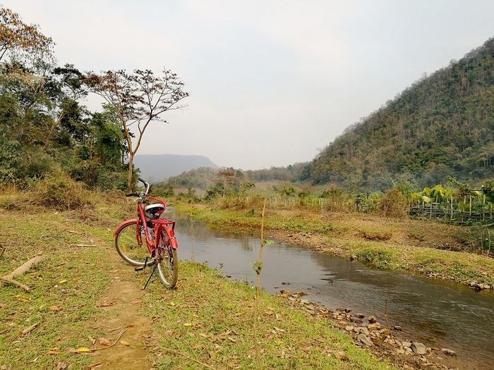 Bike by Up Steam. River Source Tree Water Mountain Bike Mountain Bicycle Cycling Sky Mountain Range Tranquility