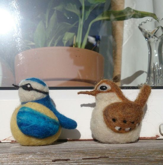 No People Day Needlefelting Bird Bluetit Wren Fibre Art Creative . Wool.