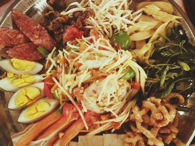 Food And Drink Food Freshness Healthy Eating Variation Vegetable No People High Angle View SLICE Indoors  Ready-to-eat Choice Close-up Day ตำถาด ข้าวเหนียว