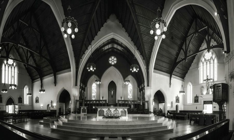 The main hall of st Patrick's cathedral Religion Arch Place Of Worship Spirituality Indoors  Altar Architecture No People Day Pew Contrast Cathedral Interior Design Buildings Curtain Travel Destinations Impressionist Effect Monochrome Photography Blackandwhite Imagination Collection Shadow Spirituality Window Palace Full Length