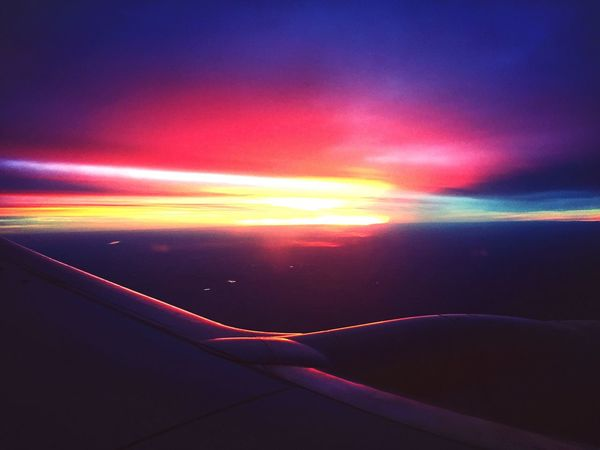 Sunset Nature Transportation Sky Outdoors No People Beauty In Nature Scenics Day Airplane Wing Night EyeEm Best Shots EyeEm Gallery Multi Colored Traveling Home For The Holidays