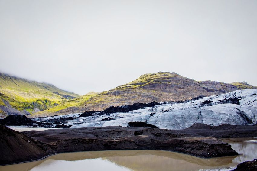 Iceland Mountain Nature Landscape Adventure Exploring No People Outdoors Haunting  Lakeshore Mist Calm Cool Tones Cool Dark Relaxed Fantasy Magic EyeEm Selects Mountain Landscape Snow No People Outdoors Tranquility Day Lake Glacier Nature Cold Temperature Scenics Water Beauty In Nature Sky