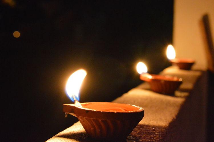 Diwali Lights Handmade Lamps FestivalFlame Oil Lamp Burning MORALS!✌ Hidden Ethics Traditional Culture Burning Candle Illuminated Close-up Heat - Temperature No People Zen-like Indoors  Night Oil Lamp Advent Tea Light Diya - Oil Lamp