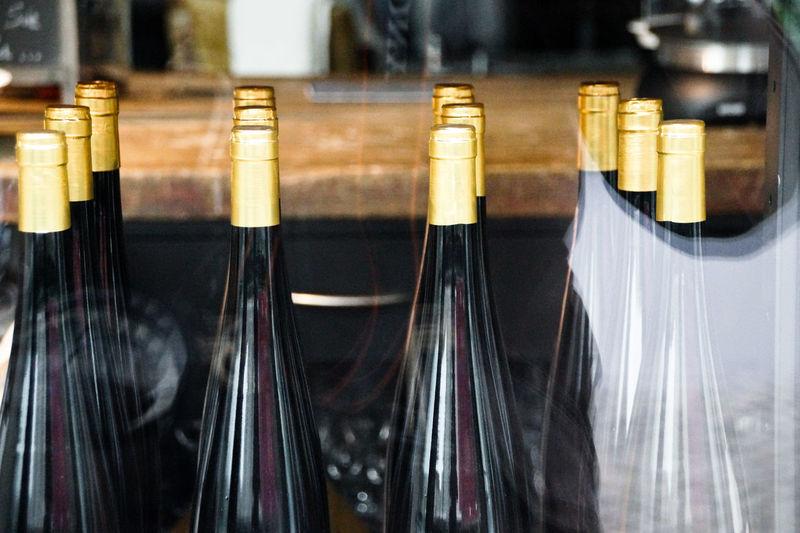 Bottles seen through glass