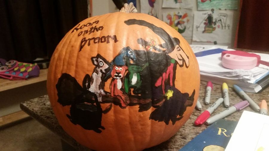 For the pumpkin decorating contest tomorrow. Room On The Broom