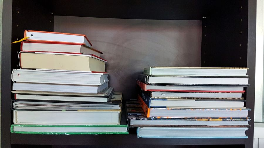 pile of books on the shelf. Book Indoors  No People Paper Bookshelf Filing Cabinet Book Cover Library Day Education Study Student Learn Textbooks