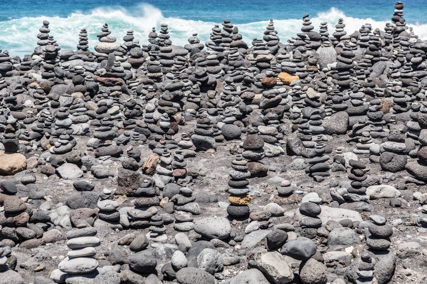 Stone sculptures at the beach Playa Jardin in Puerto de la Cruz, Tenerife Abundance Beach Day No People Picturesque Playa Jardin Stone Sculptures Water