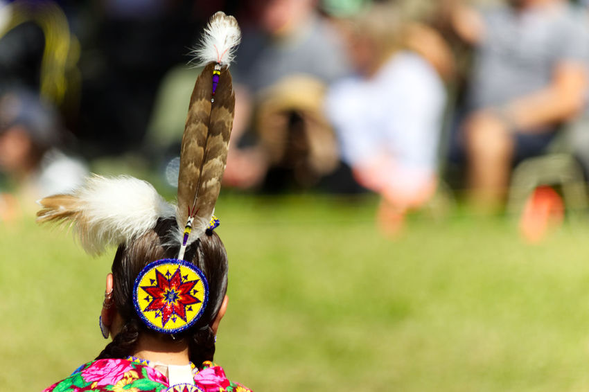 Rear view of a headband of a woman dancer at the 2017 Kahnawake Pow Wow Native Native American Art Native American Indian Pow Wow Dancer Pow Wow Day Feather  Field Focus On Foreground Lifestyles Native American Native Pride One Person Outdoors People Real People Rear View