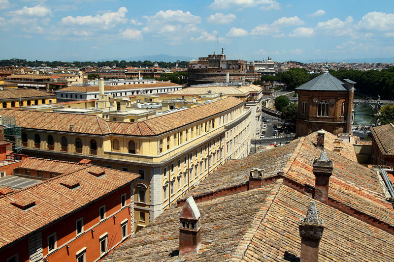 Panorama of rome, view of castel sant'angelo