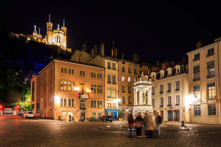 Illuminated Night Architecture Building Exterior Built Structure City Building Street Street Light Lyon France Europe City Cityscape Old Town Fourvière  Canonphotography Canon