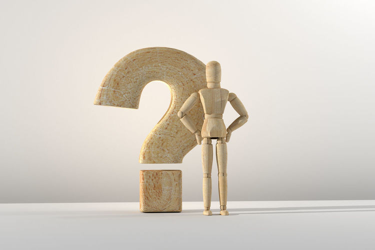 3d rendering of wooden mannequin toy prototype of human and question mark. 3d Rendering Prototype Room Shape Sign Answer Concept Confusion Faq Help Idea Information Minimalism Model Pose Problem Question Question Mark Search Solution Supply Symbol Think Toy Wooden