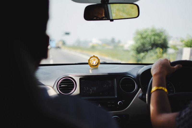 Waheguru ji, karo kirpa 🙏... InMakin! EyeEm Gallery GuruNanakDevJi Sikhism Guru Nanak Dev Ji Road Sillouette One Woman Only Driving Transportation Car Mode Of Transport Land Vehicle Windshield Car Interior Day One Man Only