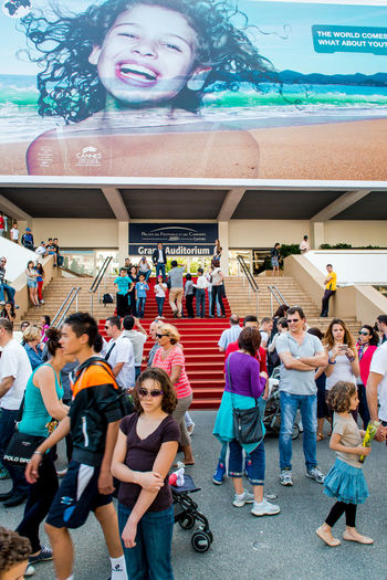 CANNES, FRANCE - MAY 01: Two weeks until of opening the 66th International Cannes Film Festival on May 01, 2013 in Cannes, France. The 2013 Cannes Film Festival will take place from May 15 to May 26, 2013. 2013 Annual Event Cannes, France City Crowd Of People Europe Event Famous Place Film Festival France French Riviera Landmark Opening Outdoors Palais Des Festivals Et Des Congres People Street Summer Sunny Day Theater Tourism Tourists