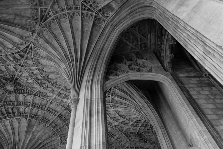 Low angle view of ribbed vault ceiling at peterborough cathedral