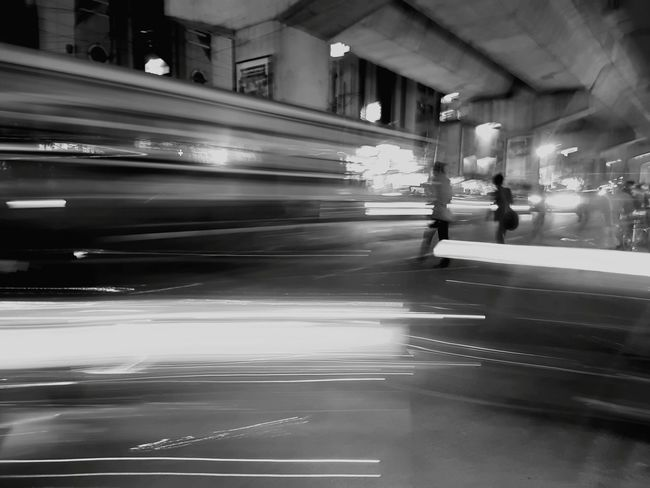 Blurred Motion Speed Motion City Black And White Friday