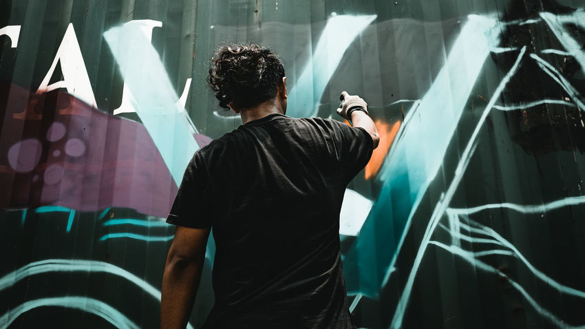 paint these wall Anak_losangeles Artofvisuals Agameoftones Moodygrams Heatercentral Theimaged Createcommune TheCreatorClass Streetdreamsmag Fatalframes Ig_color Citykillerz Illgrammers Way2ill DiscoverIndonesia Exklusive_shot Insta_magazine Jakartapointofview INDONESIA Jakarta Superhubs Shotzdelight Weekly_feature Bevisuallyinspired Canonpamer Createandcapture Streetleaks  Street_vision Streetphotography Jakartacanonphotography Standing Men Occupation Rear View Waist Up Casual Clothing Aerosol Can Vandalism Artist Painter - Artist Street Art Artist's Canvas End Plastic Pollution