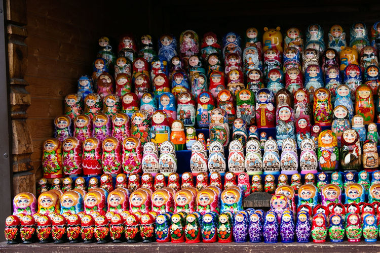 Multi colored russian nesting dolls on display at store