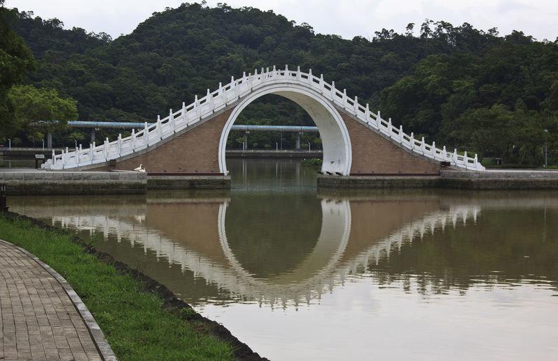 Reflection of moon bridge reflecting on canal