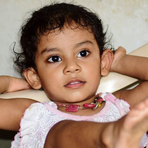 Cutie. ..Child Childhood Portrait Sitting Girls Looking At Camera People One Person Indoors  One Girl Only Real People Children Only Human Body Part Females Full Length Close-up