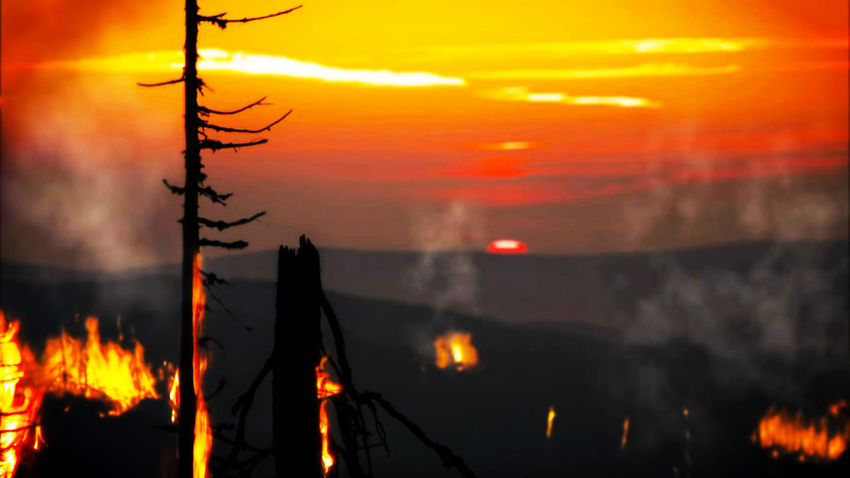 Fire Fire Mountain Mountain Fire Forest Fire Sunset Flame Heat - Temperature Accidents And Disasters Burning Smoke - Physical Structure Power In Nature Sky
