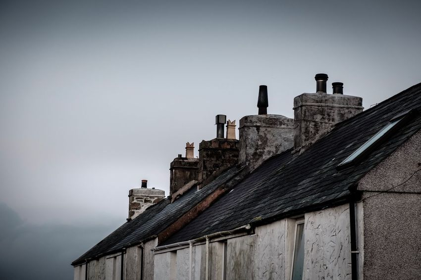 Roof in the mist Northwales Xe2s Misty Architecture Built Structure Sky Building Exterior Building History The Past No People Outdoors Smoke Stack Old Roof