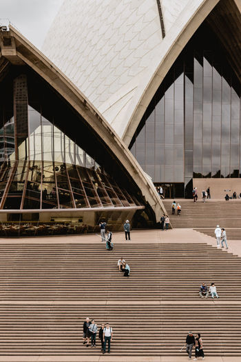 Architecture Group Of People Built Structure Real People Men Large Group Of People Staircase Building Exterior Day Crowd Adult Women Lifestyles Connection Transportation Steps And Staircases High Angle View Walking Outdoors Sydney Sydney Opera House Opéra Operahouse Monument City
