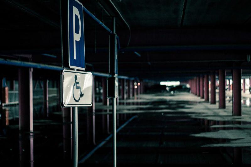 Parking sign at night