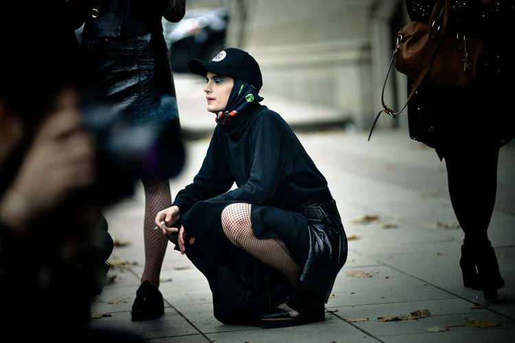 Street style Streetphotography Street Style from Around The World Fashion Fashion Week Black Color EyeEm Selects Full Length Mask - Disguise Adult People Adults Only One Person Crouching Outdoors Young Adult Day My Best Photo