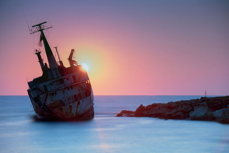 the last voyage Cyprus Ghost Greece Horizon Horizon Over Water Long Exposure Metal Mode Of Transportation Nature Nautical Vessel No People Outdoors Scenics - Nature Sea Seascape Ship Shipwreck Sinking Sky Sun Sunset Tranquil Scene Tranquility Transportation Water