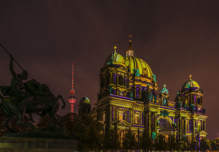 Architecture Berliner Dom Building Exterior Built Structure Dome Fernsehturm Festivaloflights Illuminated Illumination Low Angle View Nachtfotografie Night Nightphotography No People Outdoors Place Of Worship Projection Religion Sky Spirituality Telespargel Travel Destinations