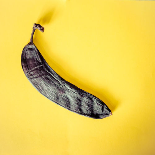 Bad Banana Black Color Food Fruit Minimal One Rotten Simple Square Yellow Yellow Background