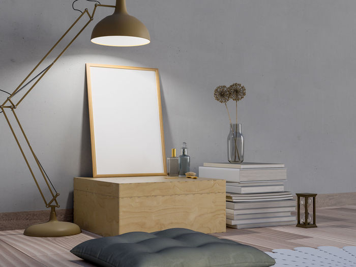 Mock up poster in dark room and lamp. Lighting Equipment Electric Lamp Indoors  Table Furniture Wall - Building Feature No People Home Interior Electric Light Domestic Room Absence Seat Light Illuminated Home Showcase Interior Pillow Chair Lamp Shade  Architecture Pendant Light Modern Luxury