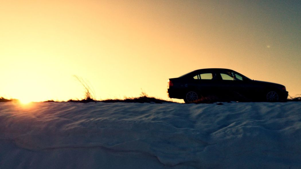 Bmw Cold Temperature Sunset Snow Winter Sand Dune Car Clear Sky Sky Arid Landscape