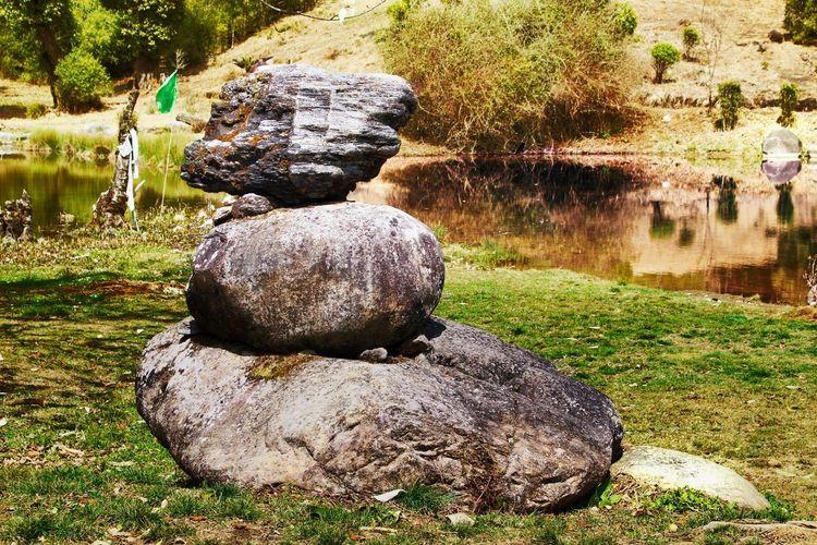 Stone on rock in garden