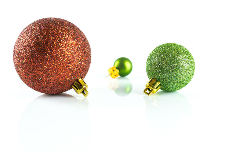 Christmas Copy Space Green Isolated Red Balls Christmas Decoration Close-up Food Food And Drink Freshness Fruit Glittering Green Color Healthy Eating Indoors  No People Refelctions Studio Shot White White Background