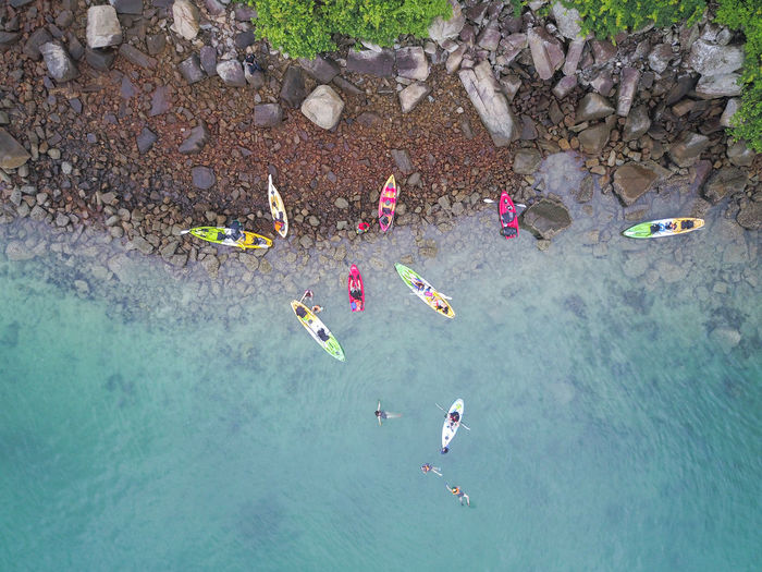 Group Of People Water High Angle View Leisure Activity Real People Day Nature Women Large Group Of People Lifestyles Holiday Vacations Enjoyment Men Trip Crowd Sea Rock Outdoors Floating On Water Inflatable